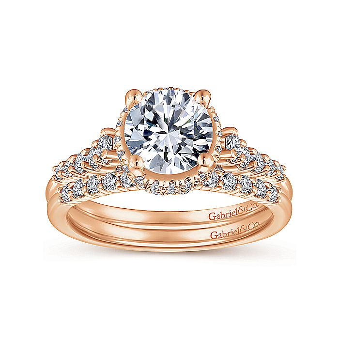 14K Rose Gold Hidden Halo Round Diamond Engagement Ring