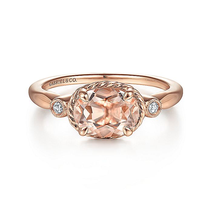 14K Rose Gold Horizontal Oval Morganite and Diamond Three Stone Ring