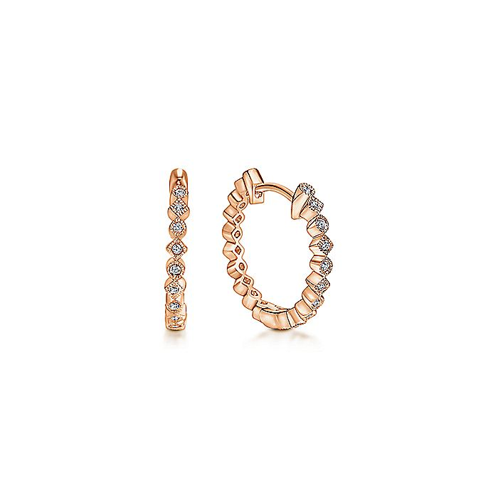 14K Rose Gold Huggie Alternating Square & Round Diamond Huggies