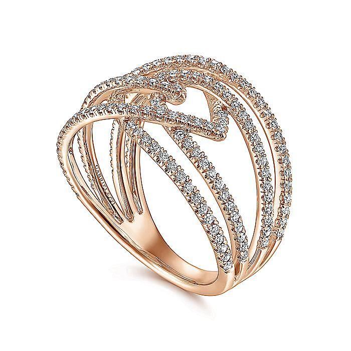 14K Rose Gold Intersecting Multi Row Pavé Diamond Ring