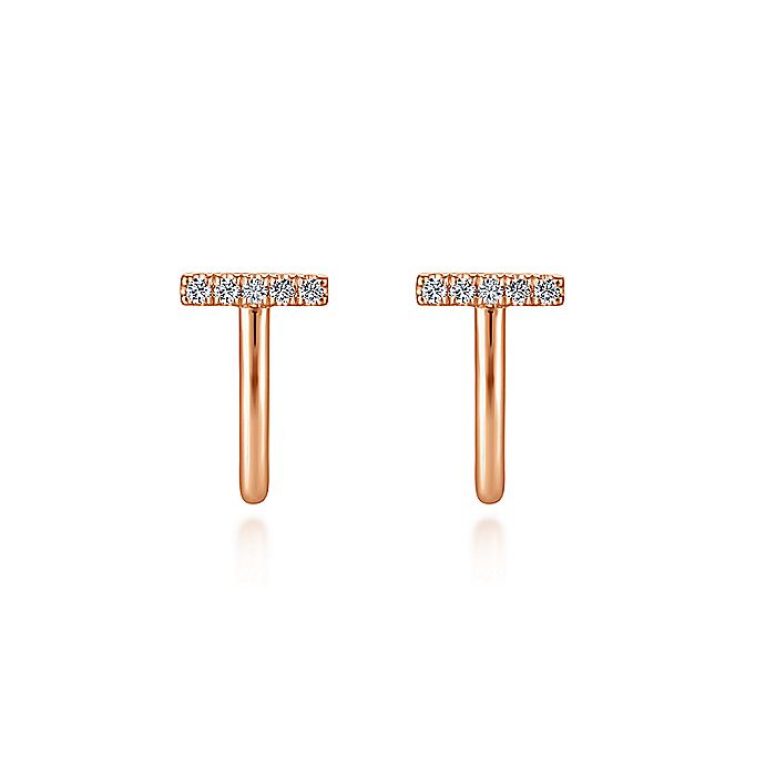 14K Rose Gold J Curve Diamond Bar Stud Earrings