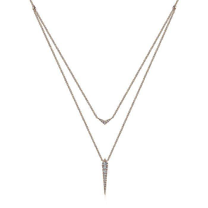 14K Rose Gold Layered Pavé Diamond Bar and Spike Pendant Necklace