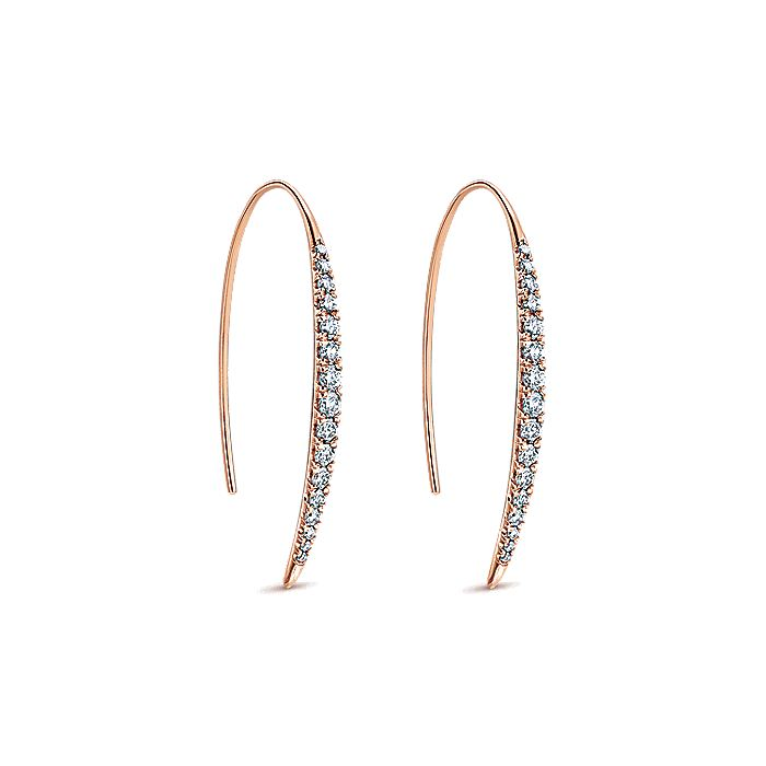 14K Rose Gold Long Tapered Diamond Threader Earrings