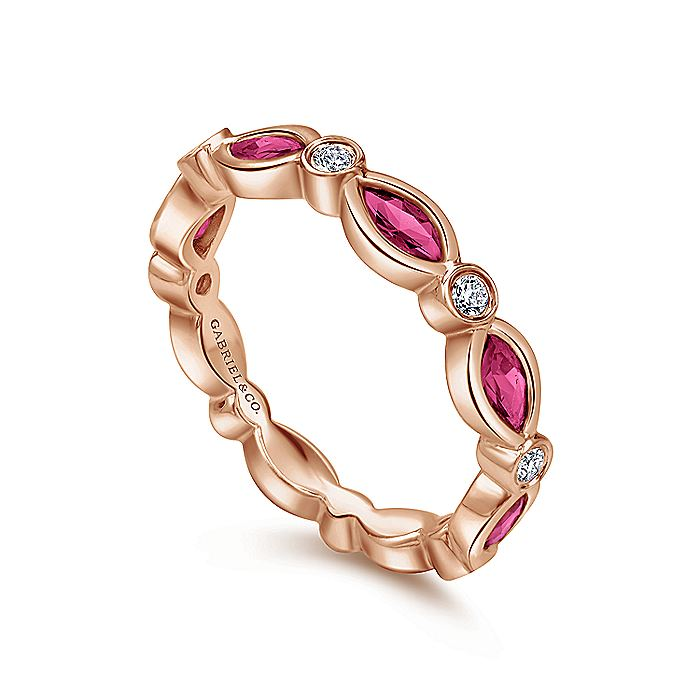 14K Rose Gold Marquise Ruby and Round Diamond Ring