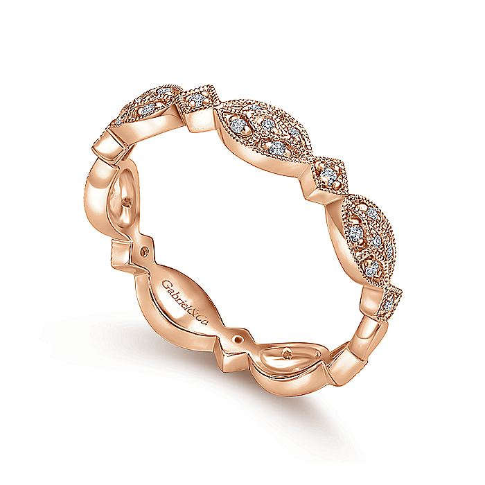 14K Rose Gold Marquise Station Cluster Diamond Stackable Ring