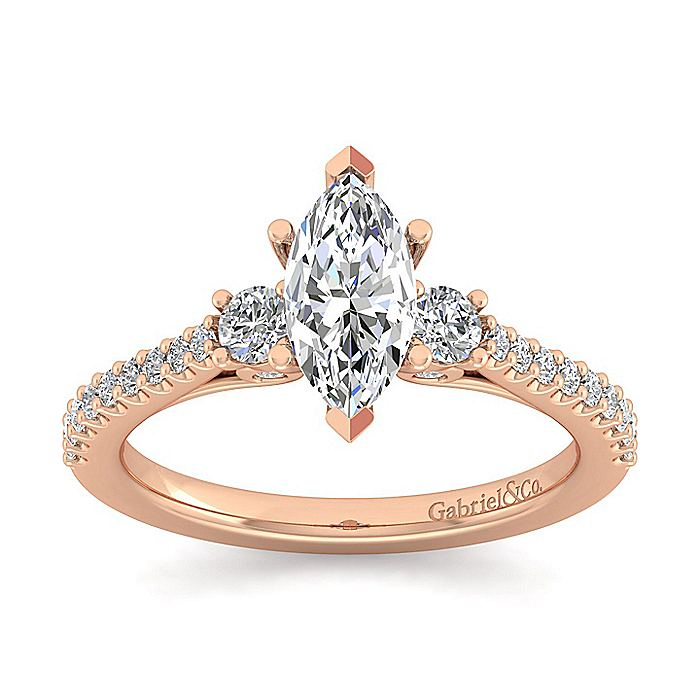 14K Rose Gold Marquise Three Stone Diamond Engagement Ring