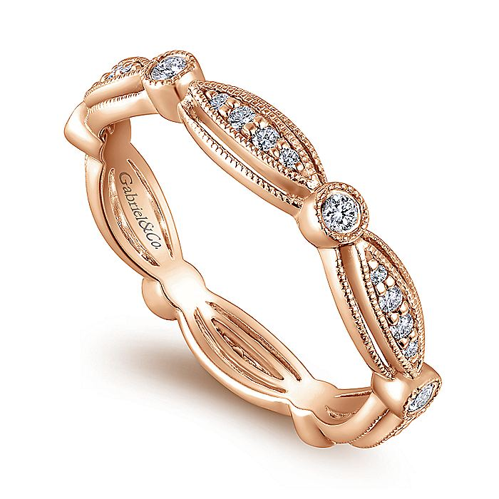14K Rose Gold Marquise and Round Station Diamond Eternity Ring
