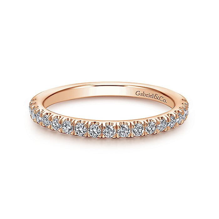14K Rose Gold Matching Diamond Wedding Band