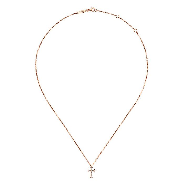 14K Rose Gold Moline Diamond Cross Pendant Necklace