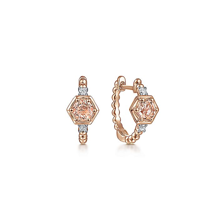 14K Rose Gold Morganite and Diamond Huggie Earrings