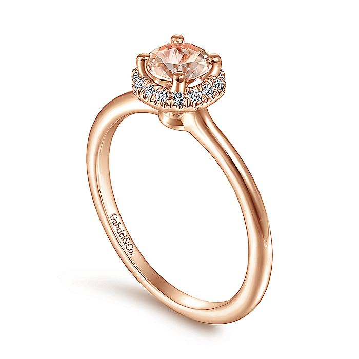 14K Rose Gold Octagonal Diamond Halo Round Morganite Ring