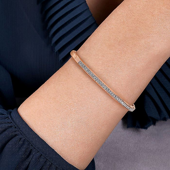 14K Rose Gold Open Bangle with Diamonds