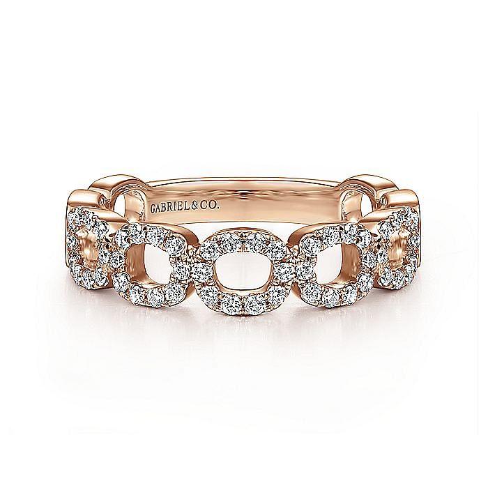 14K Rose Gold Open Diamond Circle Band