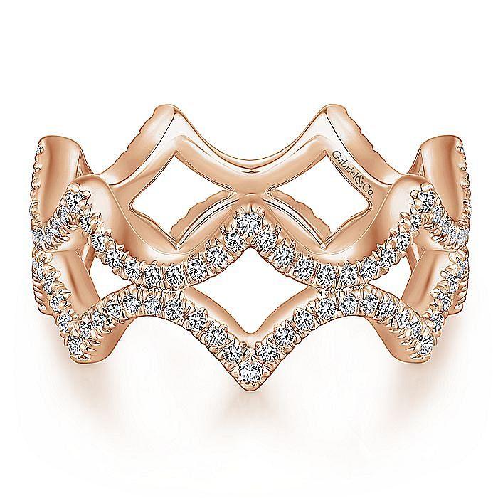14K Rose Gold Open Triangular Diamond Eternity Ring