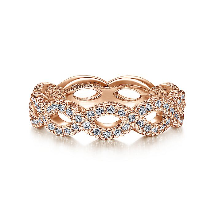 14K Rose Gold Open Twist Diamond Ring