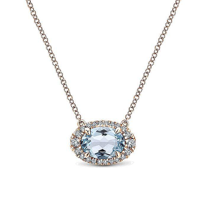 14K Rose Gold Oval Aquamarine and Diamond Halo Pendant Necklace