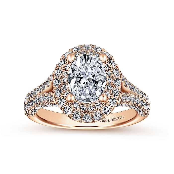 14K Rose Gold Oval Diamond Engagement Ring
