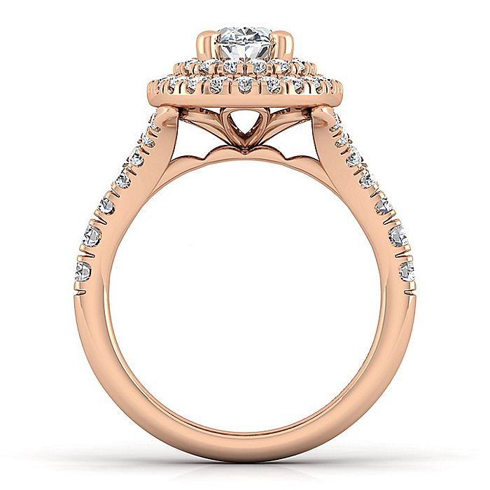 14K Rose Gold Oval Double Halo Diamond Engagement Ring