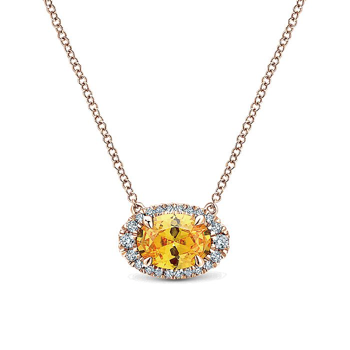 14K Rose Gold Oval Halo Citrine and Diamond Necklace