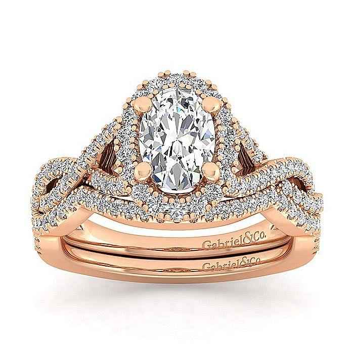 14K Rose Gold Oval Halo Diamond Engagement Ring