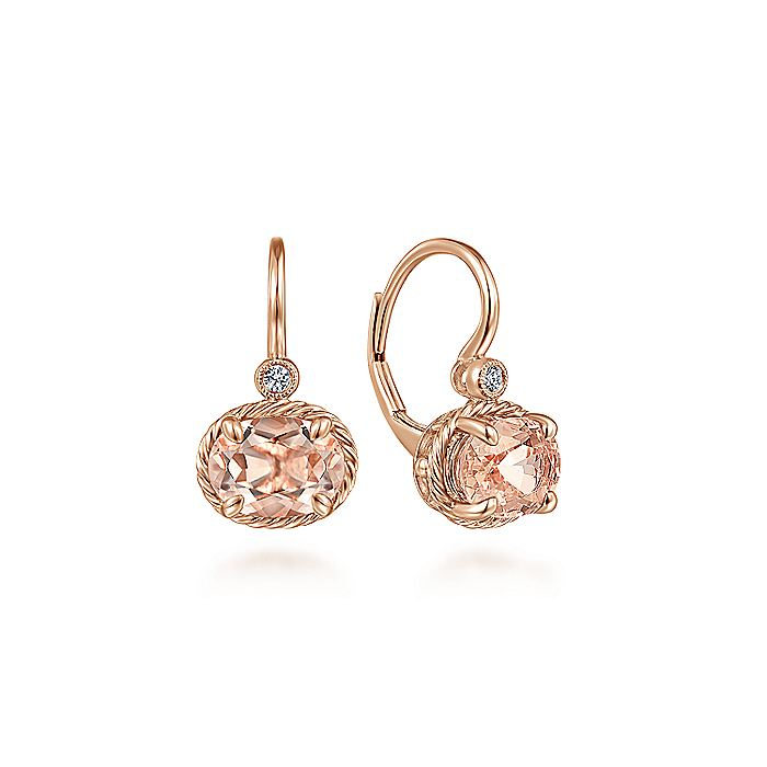 14K Rose Gold Oval Morganite and Diamond Leverback Earrings