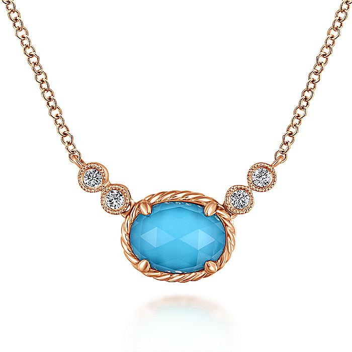 14K Rose Gold Oval Rock Crystal/Turquoise and Diamond Pendant Necklace