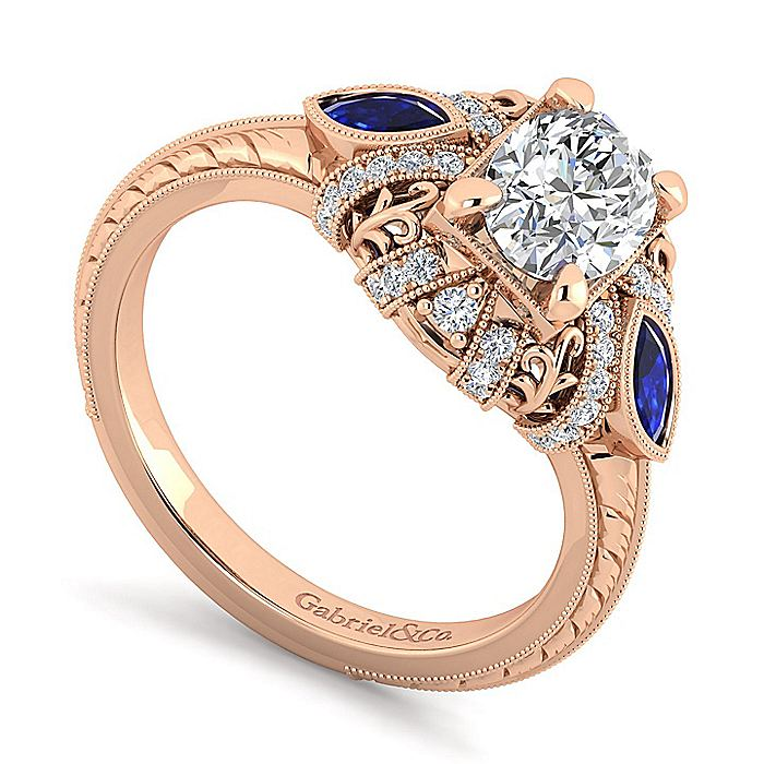 14K Rose Gold Oval Sapphire and Diamond Engagement Ring
