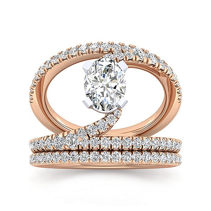 14K Rose Gold Oval Split Shank Diamond Engagement Ring