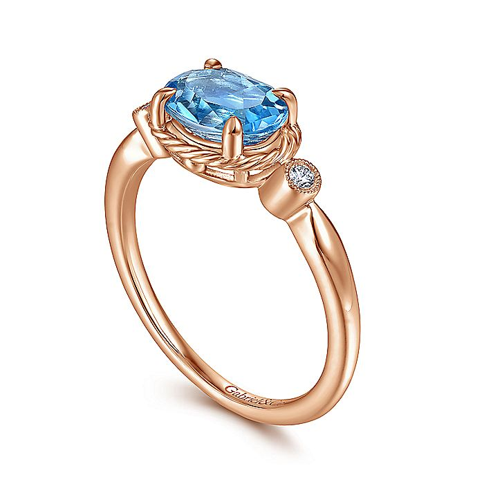 14K Rose Gold Oval Swiss Blue Topaz and Diamond Three Stone Ring