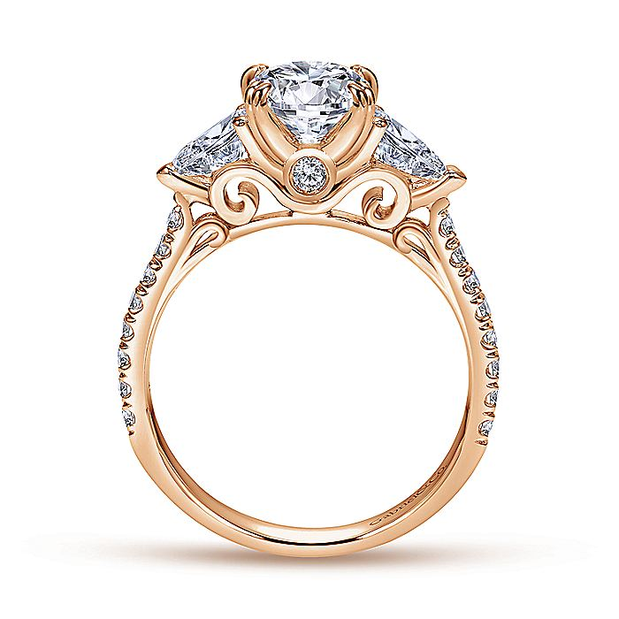 14K Rose Gold Oval Three Stone Diamond Engagement Ring