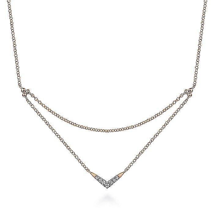 14K Rose Gold Pavé Diamond Layered Chain V Necklace