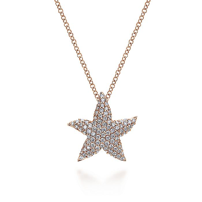 14K Rose Gold Pavé Diamond Star Pendant Necklace