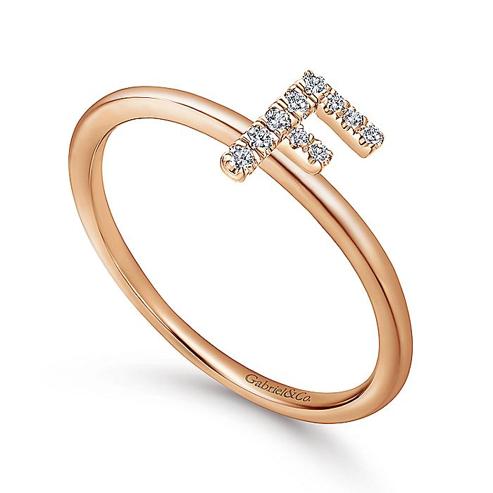 14K Rose Gold Pavé Diamond Uppercase F Initial Ring