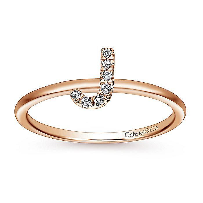 14K Rose Gold Pavé Diamond Uppercase J Initial Ring
