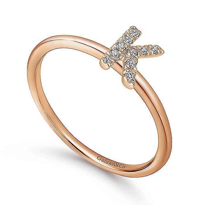 14K Rose Gold Pavé Diamond Uppercase K Initial Ring