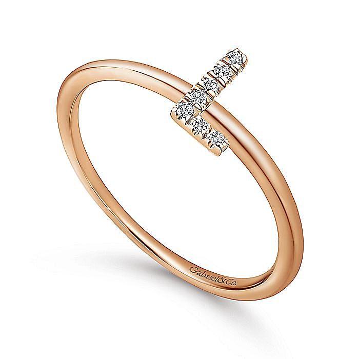 14K Rose Gold Pavé Diamond Uppercase L Initial Ring