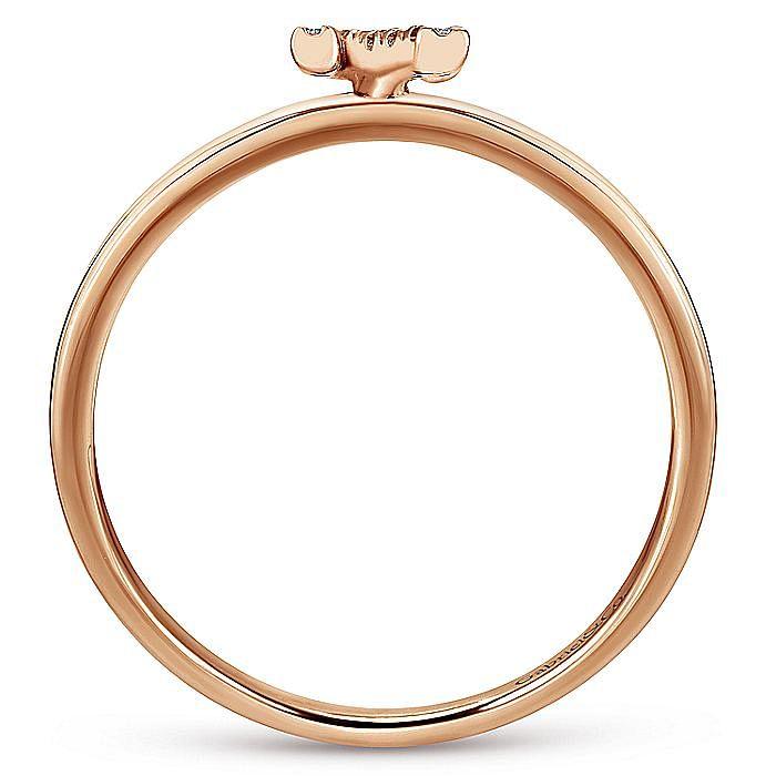 14K Rose Gold Pavé Diamond Uppercase N Initial Ring