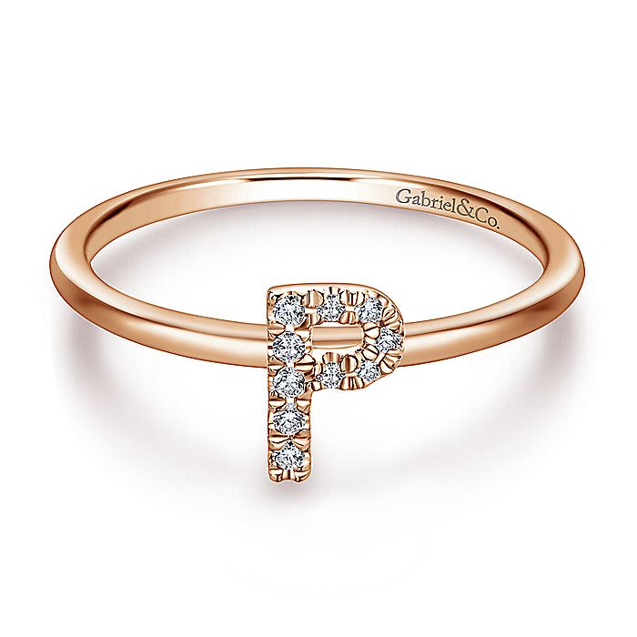 14K Rose Gold Pavé Diamond Uppercase P Initial Ring