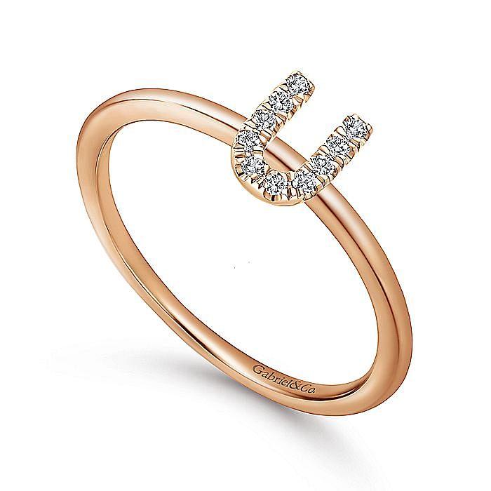 14K Rose Gold Pavé Diamond Uppercase U Initial Ring