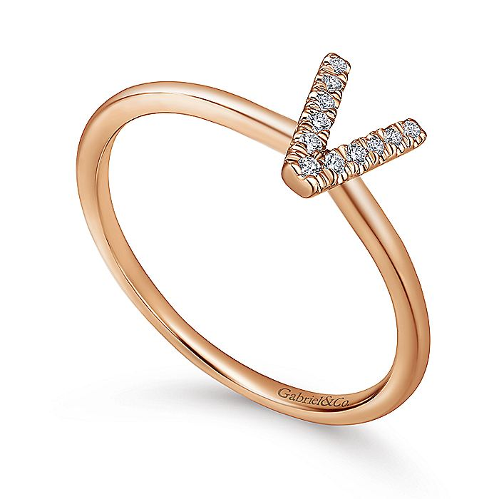 14K Rose Gold Pavé Diamond Uppercase V Initial Ring