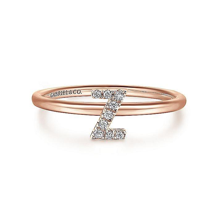 14K Rose Gold Pavé Diamond Uppercase Z Initial Ring
