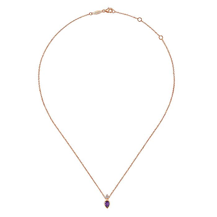 14K Rose Gold Pear Shape Amethyst Pendant Necklace with Diamond Accents