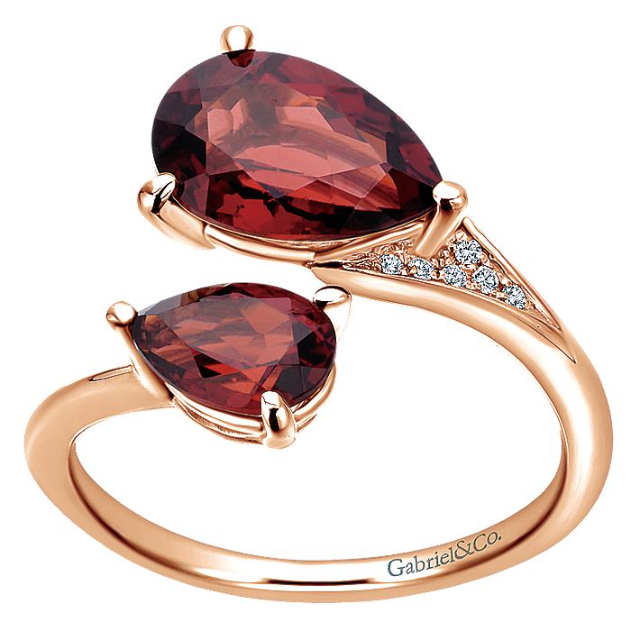 14K Rose Gold Pear Shape Garnet Split Ring with Diamond Accents