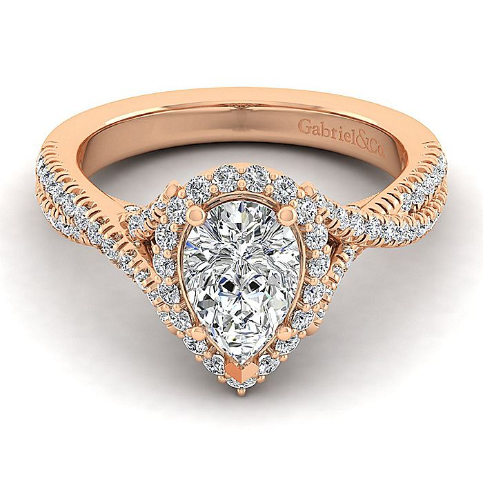 14K Rose Gold Pear Shape Halo Diamond Engagement Ring