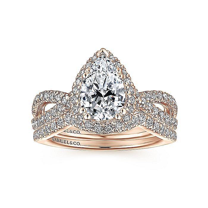 14K Rose Gold Pear Shape Halo Diamond Engagement Ring