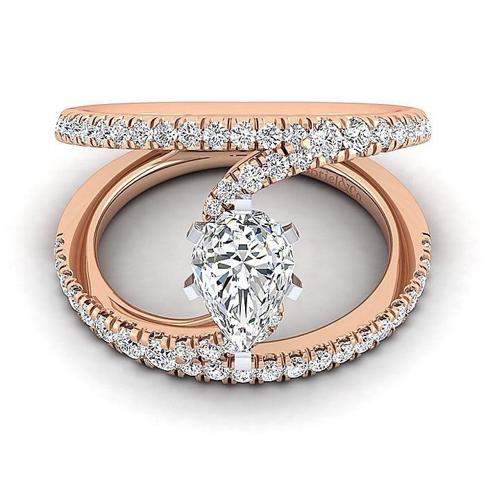 14K Rose Gold Pear Shape Split Shank Diamond Engagement Ring