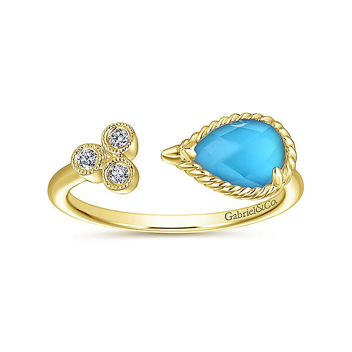 14K Rose Gold Pear Shaped Rock Crystal/Turquoise Split Ring with Diamonds