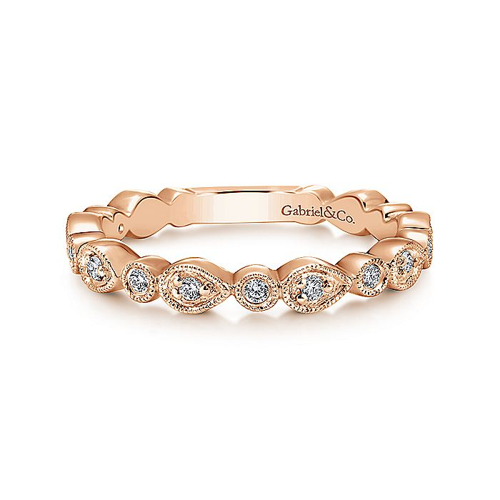 14K Rose Gold Pear and Round Station Stackable Diamond Ring