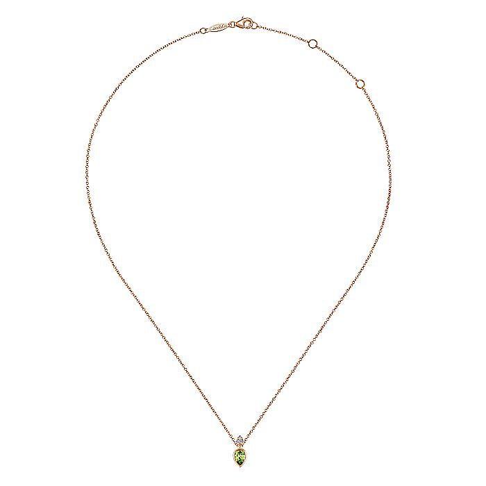 14K Rose Gold Peridot and Diamond Necklace