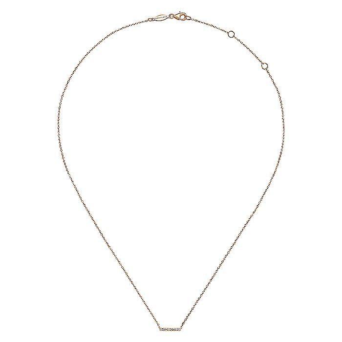 14K Rose Gold Petite Pavé Diamond Bar Necklace